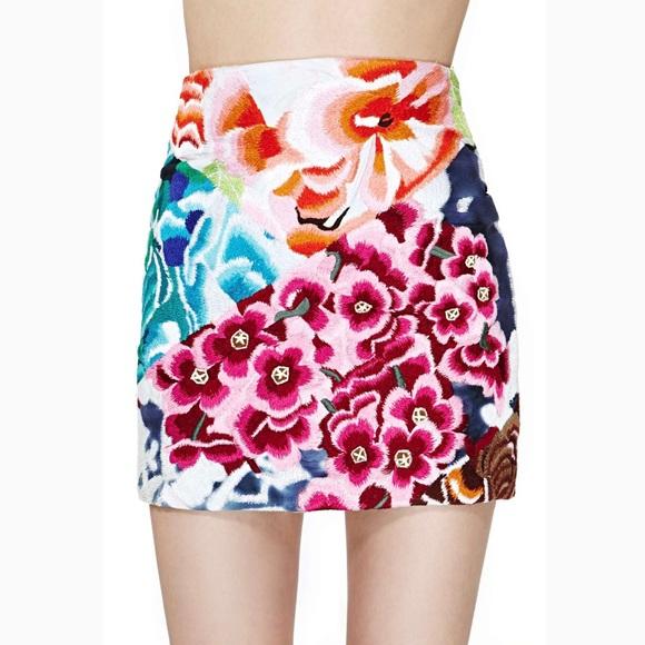 5f58065959 Shakuhachi Skirts | Flower Bomb Embroidered Mini Skirt | Poshmark